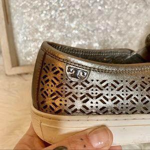 Tory Burch Shoes - Tory Burch Silver Metallic Leather Slip-on Sneaker